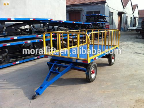 Airport Luggage Trailer With Drawbar Flatbed Loading