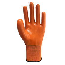 orange non slip PVC coated gloves PVC dotted waterproof working gloves use for safty filed