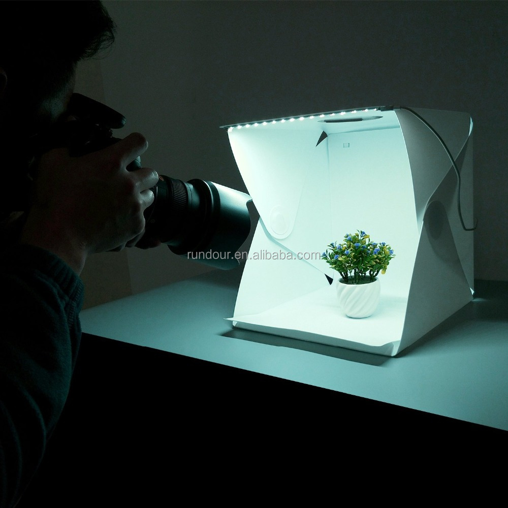 Professing Mini Photo Studio With LED Light Small Folding Light Box Tent to taking a picture for menu