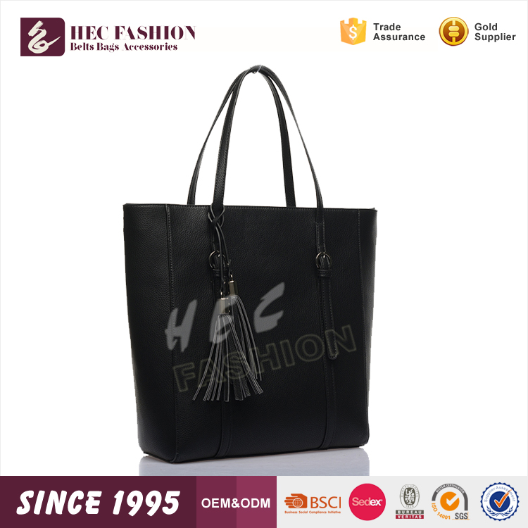 HEC Alibaba China Bulk Packing Wholesale Black Color Leather Stand Shopping Tote Bags Shoulder Handbags