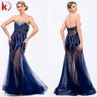Latest Popular Fashion Design Elegant Blue Sweetheart Long Dress With Appliqued Beading Sexy Sleek Backless Wedding Dresses