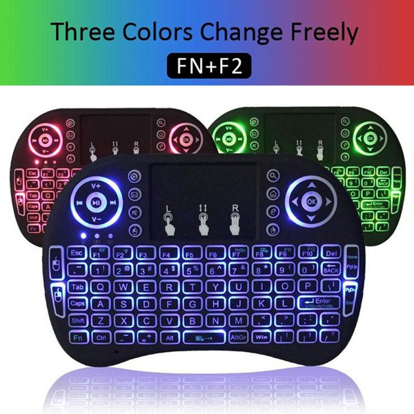 Free Logo Printing 2.4Ghz Mini Rii I8 Smart Tv Backlit Wireless Mini Black Computer Bamboo Gamepad Keyboard With Touchpad