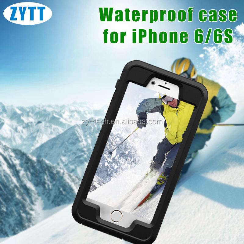 outdoor waterproof case for iphone 6S leather case with small magnet, waterproof box for phone