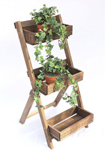 shabby chic antique retro ladder step type collapsible wooden flower rack shelf holder stand for plant pot display storage