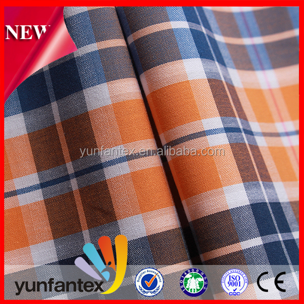 2016 100% cotton yarn dyed plaid t shirt school uniform fabric