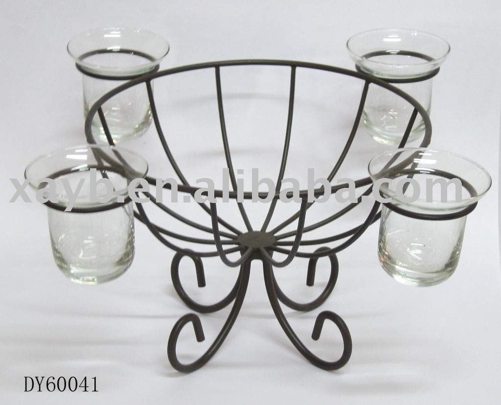metal wire basket with candle holder