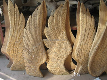 Antique gold wood angel wings