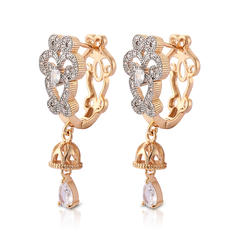 Latest Saudi Gold Jewelry Fancy Design Hanging Earrings Of Cubic Zirconia Stone