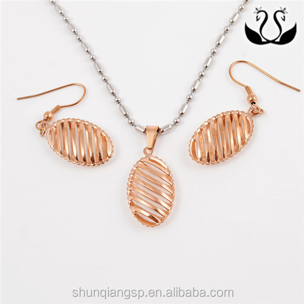 Wholesale Shiny Rose Gold Stainless Steel Plated Hollow Ellipse Jewelry Set