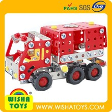 metal building block fire truck, assembly metal car intelligent puzzle toy C