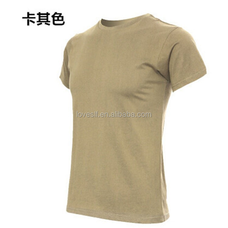wholesale plain khaki army traning T-<strong>shirt</strong> O neck military 100% cotton casual <strong>shirt</strong>
