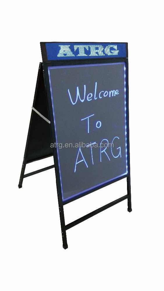 Double side Illuminated metallic writing board LED advertising board road side LED signage board