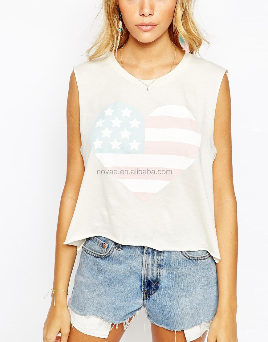 Custom american flag heart printed women crop tops for American apparel custom t shirt printing