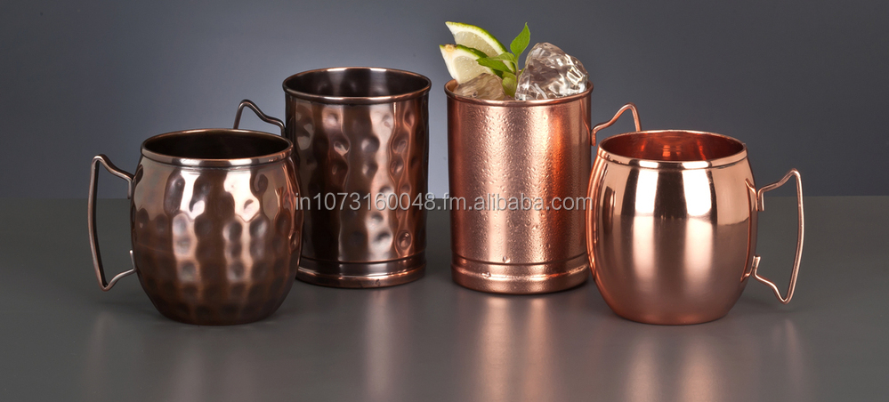 Copper Moscow Mule Mug Hammered 16 oz in Dark Copper Antique
