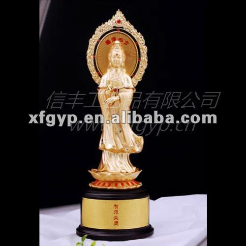 golden buddhism metal award trophy cup, the Goddess of Mercy