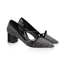 Spring New Sexy Women High Heels Pointed Toe Grid Belt Buckle Pumps Shoes