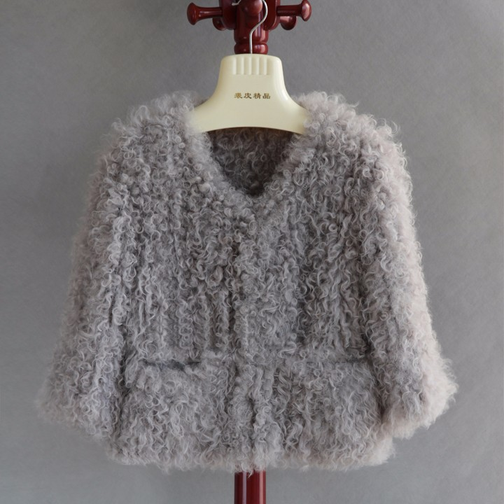 2017 Hot Sale Ladies Real Lamb Fur Coat Knitted With Mongolian Lamb Fur