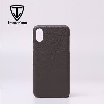 Genuine Saffiano Phone Case For Iphone X , Wholesale Real Leather Cell Phone Case For Iphone X