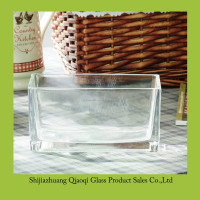 4 inch tall Square Shaped Clear Glass Vase