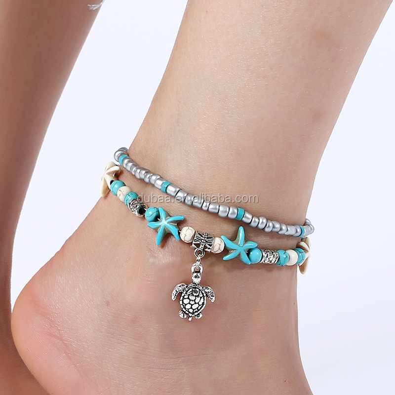 Sea Turtle Anklets,Starfish Foot Jewelry,Shell Beads Foot Bracelet Leg Bracelet For Women Girls