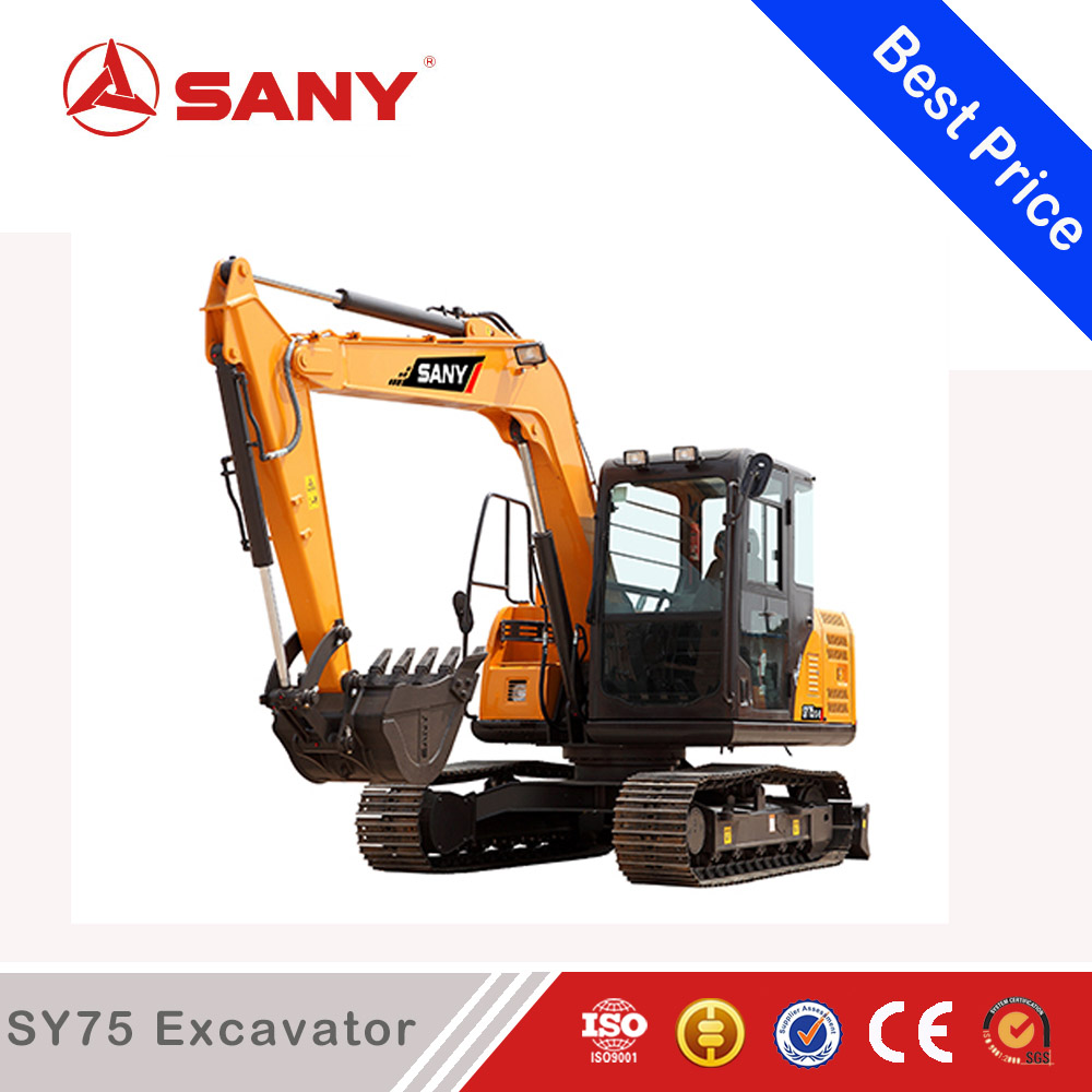 SANY SY75C 7.5ton Crawler Digging Hole Excavator Digging Trencher