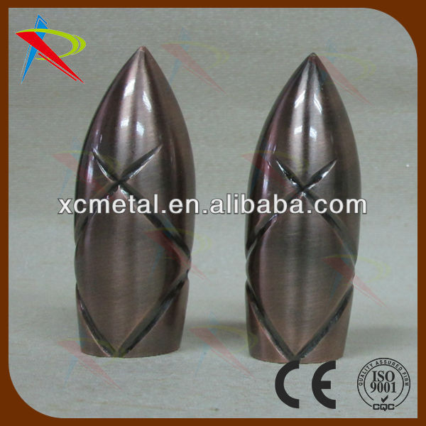 rocket shape curtain accessory for round wrought iron curtain rod
