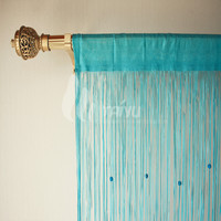 Flat New Design Curtain With Beads Valance Curtain 2015