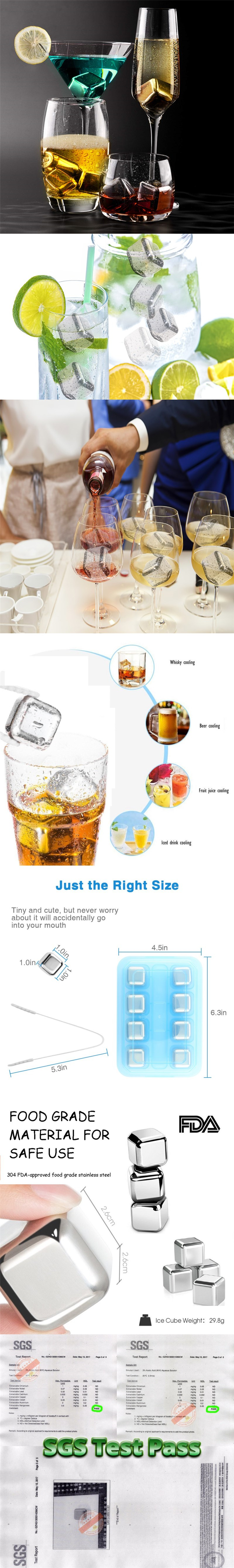Hot sale food grade good quality stainless steel ice cube for freezing drink