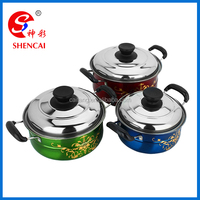 Color Printed Stainless Steel Cookware Soup Pot Set with Flower Patten