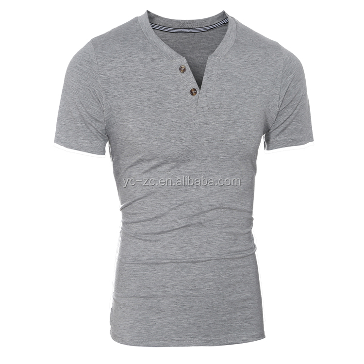 High Quality slim fit V Neck T Shirts 100% polyester henley shirts wholesale