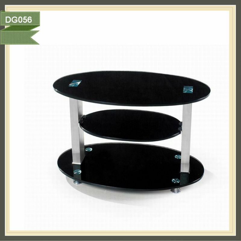 chrome oval glass tv stand lift cabinet bracket