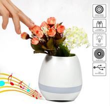 Flower Plant Smart Music Pot Bluetooth Speaker with LED Light Touch Control Piano Function Home Office Furnish Decorate Gift