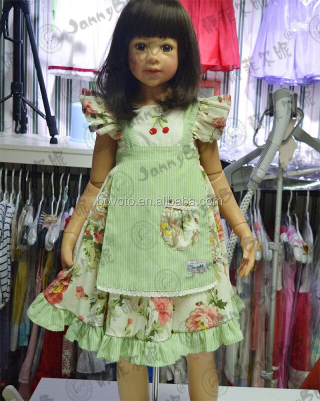 modern children dress green yarn dyed with apply embroidery& flower printed