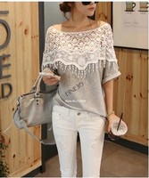 Sweet Lace Hollow Out T-Shirt Women Handmade Crochet Cape Collar lady blouse & top 19221
