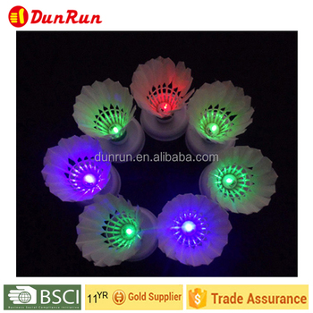PU Cock flashing lighted/ Shining Duck Feather Shuttlecock/LED Badminton Shuttlecock
