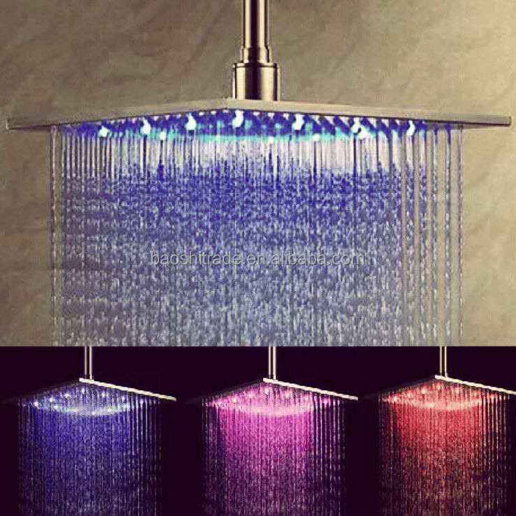 "Stainless Steel 10"" Square LED Temperature control luminous Top Spray Shower Head"