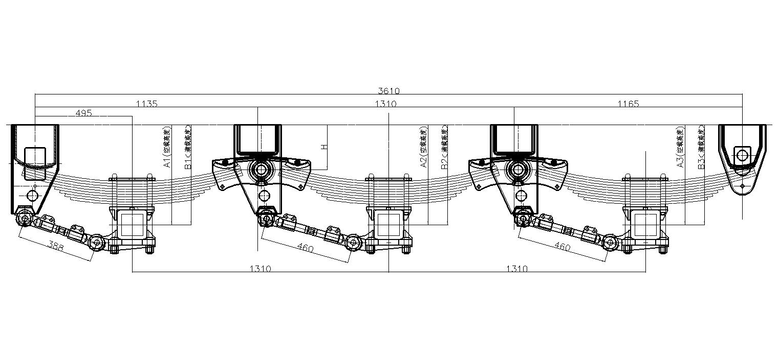 semi trailer parts diagram of a suspension system