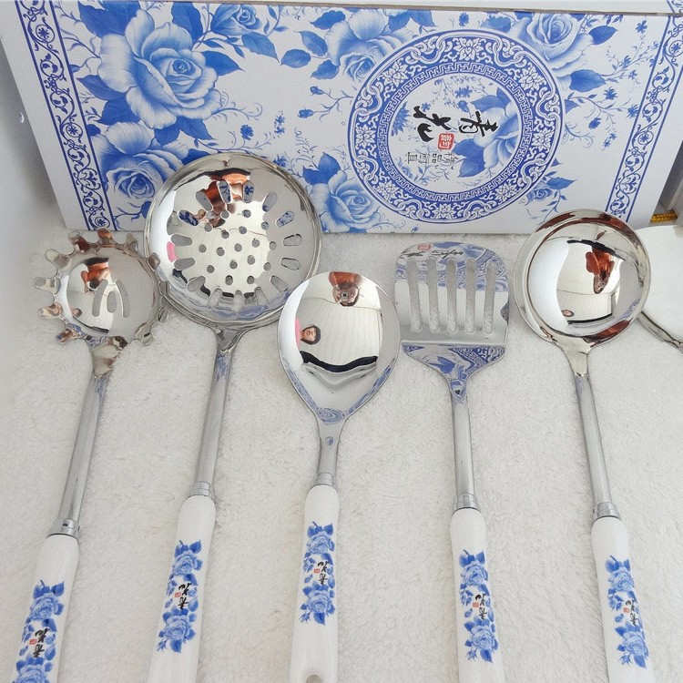 Wholesale porcelain cooking tools set stainless steel ceramic handle kitchenware