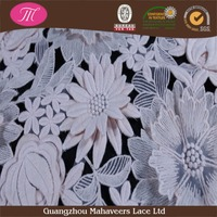 High quality fancy guipure lace fabric flower double layers chemical mesh lace fabric for wedding dress