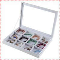 White leather wholesale velvet jewelry boxes with 12 slots from CN