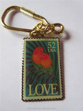 KEYCHAIN Tropical Love Birds keychains Parrots key chain 1991 52c SC Gift Souvenir Stamp collective Keychain