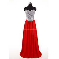 Wholesale Long Red Chiffon Silver Sequin Beaed Split Leg Sexy Prom Dress Party Dress