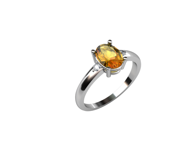 18k Diamond ring with yellow sapphire
