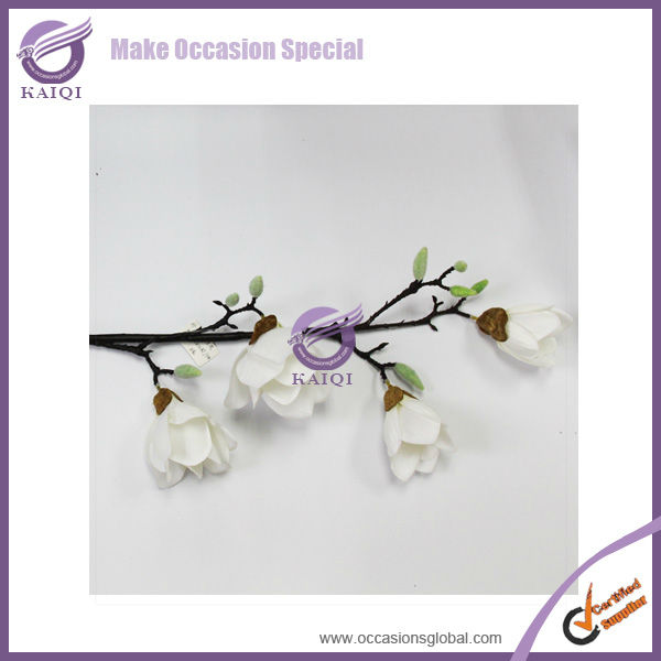 18286 4-head magnolia white cheap big real touch artificial magnolia flower for weddings