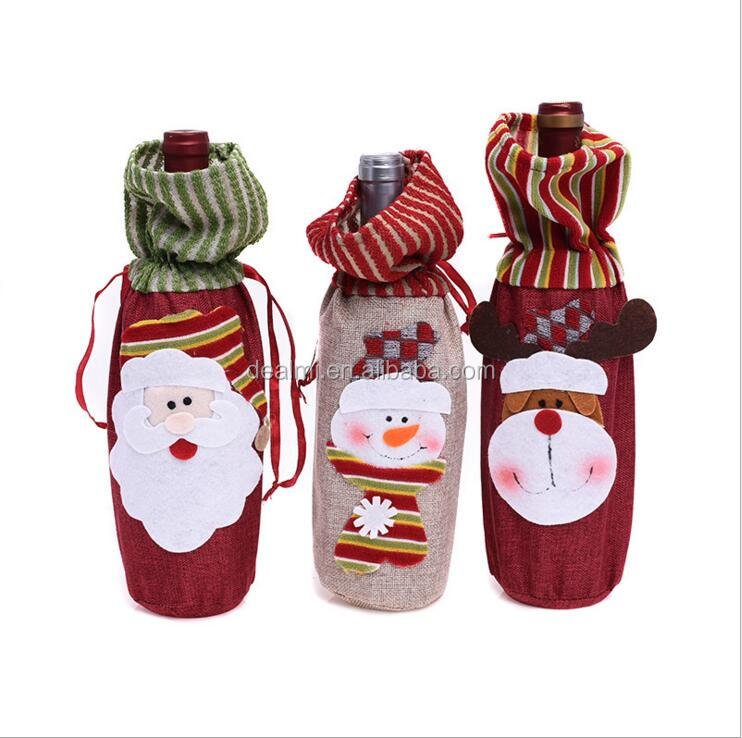 DEMIZXX891 Wholesale Custom Felt Material Differernt Colors With Cute Pattern Decorations Free Shipping Christmas Wine Covers