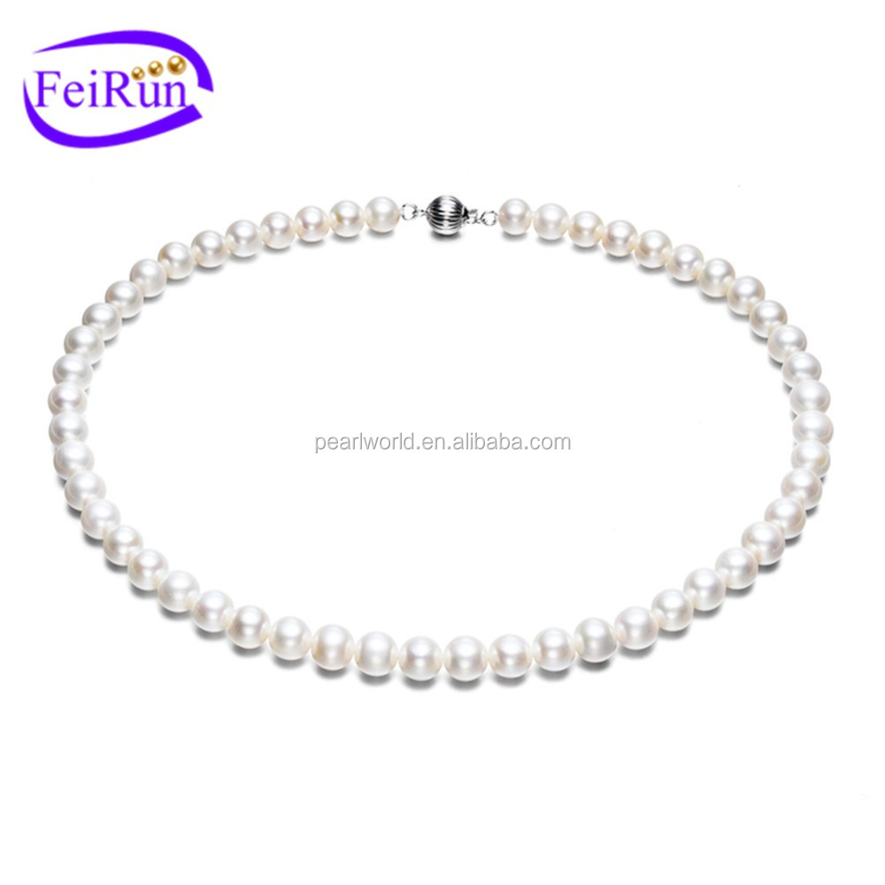 FEIRUN 8mm AAA 14k gold clasp luxury pearl necklace, brand pearl necklace, pearl choker necklace