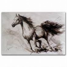 abstract canvas art running horses painting