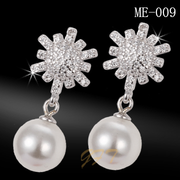 Latest design girls top 925 sterling silver pearl earring designs