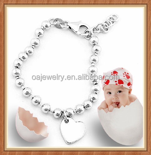 Mirror polish and nickel free 925 sterling silver baby bracelets