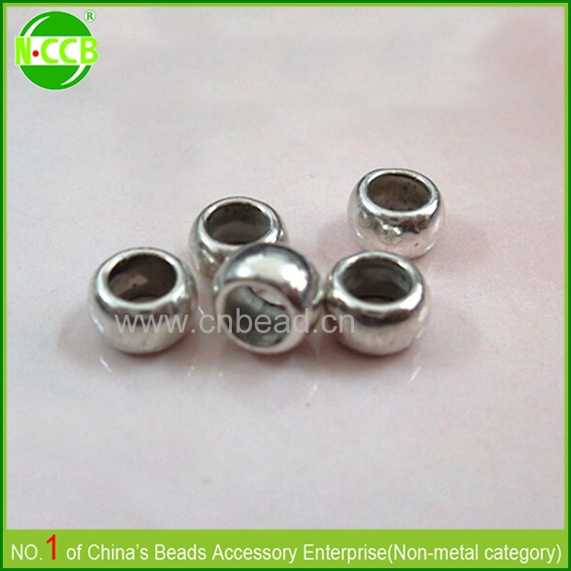Best selling items 10*8mm large hole round ABS plastic bead metal bead